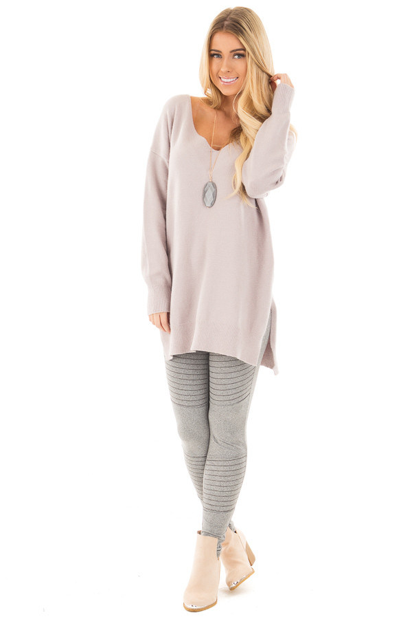 Heather Grey Moto Leggings with Stitching Details front full body