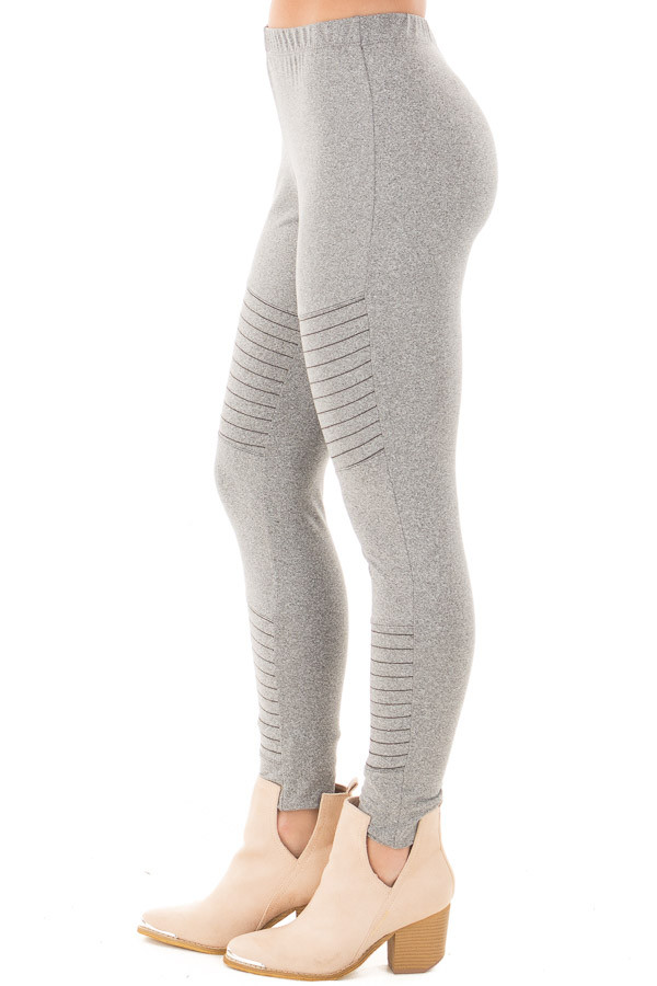 Heather Grey Moto Leggings with Stitching Details side right leg