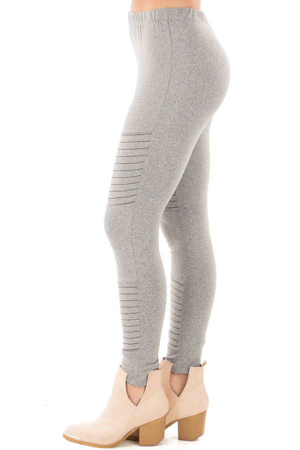 Heather Grey Moto Leggings with Stitching Details side left leg