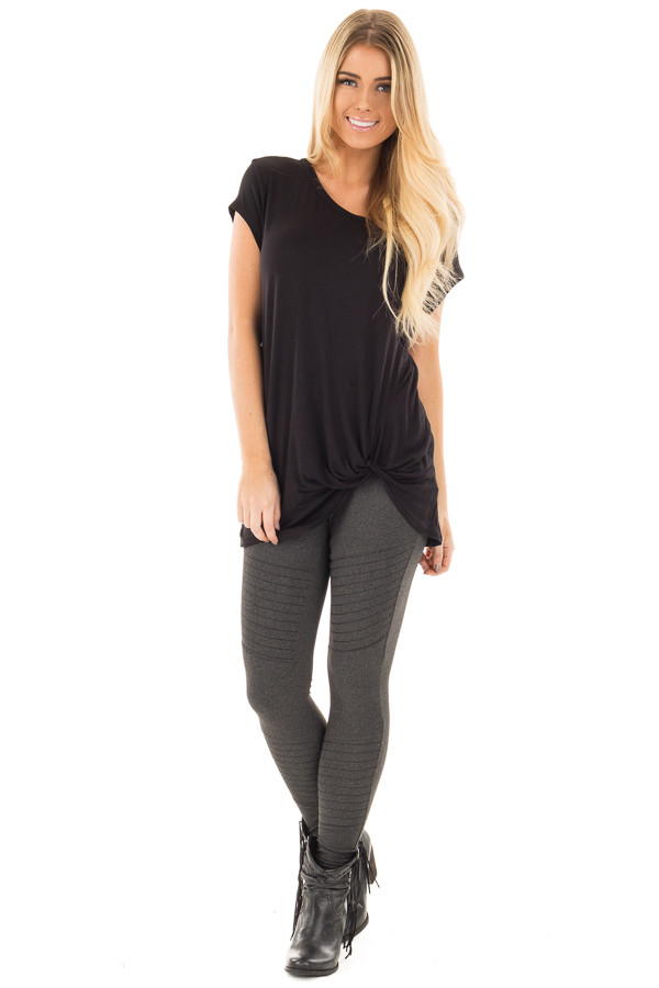Charcoal Moto Leggings with Stitching Details front full body