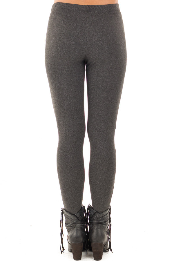 Charcoal Moto Leggings with Stitching Details back view