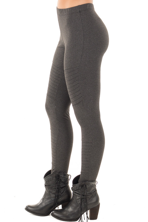 Charcoal Moto Leggings with Stitching Details side right leg