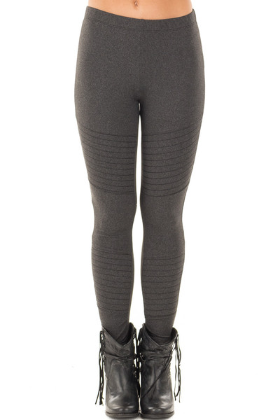 Charcoal Moto Leggings with Stitching Details front view