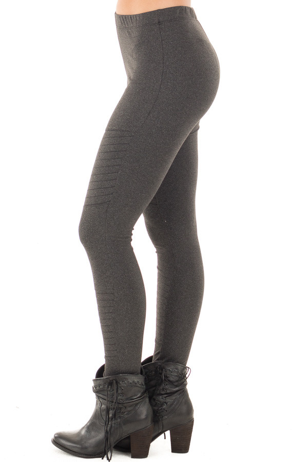 Charcoal Moto Leggings with Stitching Details side left leg