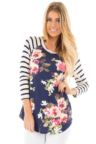 Navy Floral Baseball Tee with Ivory Striped Sleeves front close up