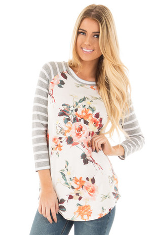 Ivory Floral Baseball Tee with Heather Grey Striped Sleeves front close up