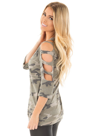 Camo 3/4 Sleeve Top with Cut Out Details side close up