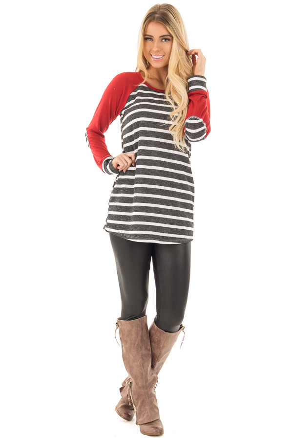 Charcoal and Ivory Stripe Top with Red Baseball Sleeves front full body