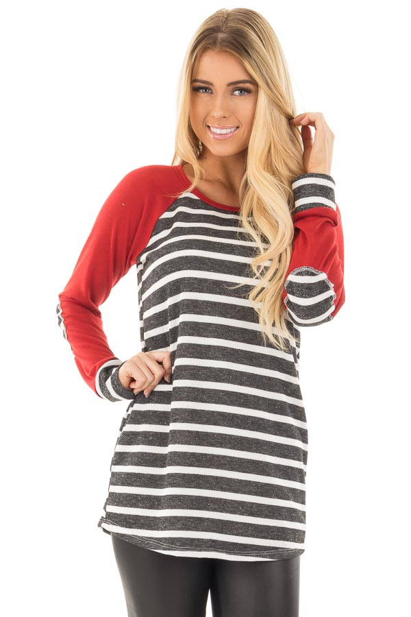 Charcoal and Ivory Stripe Top with Red Baseball Sleeves front close up