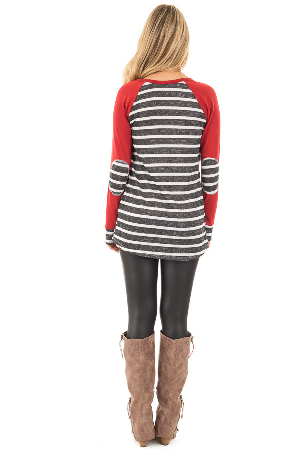 Charcoal and Ivory Stripe Top with Red Baseball Sleeves back full body