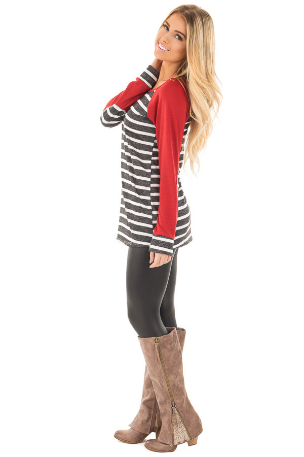 Charcoal and Ivory Stripe Top with Red Baseball Sleeves side full body