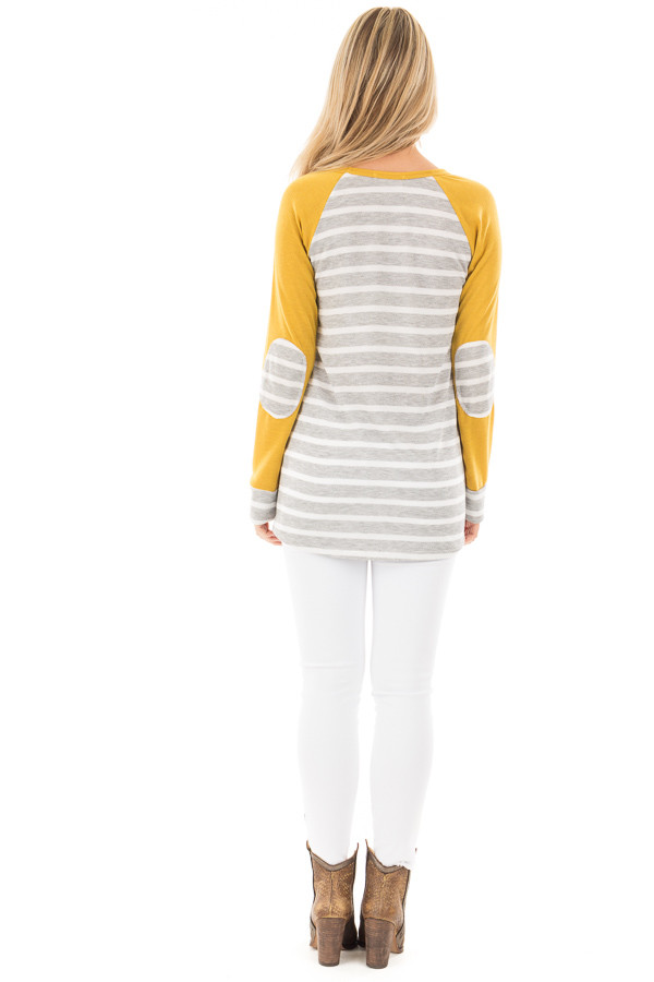 Heather Grey and Ivory Stripe Top with Marigold Sleeves back full body