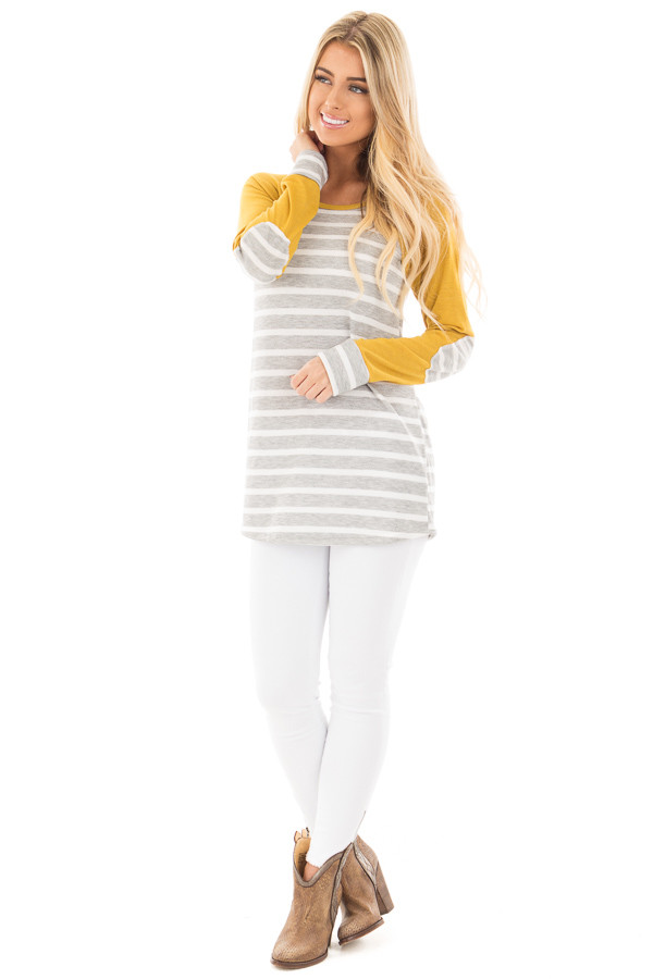 Heather Grey and Ivory Stripe Top with Marigold Sleeves front full body