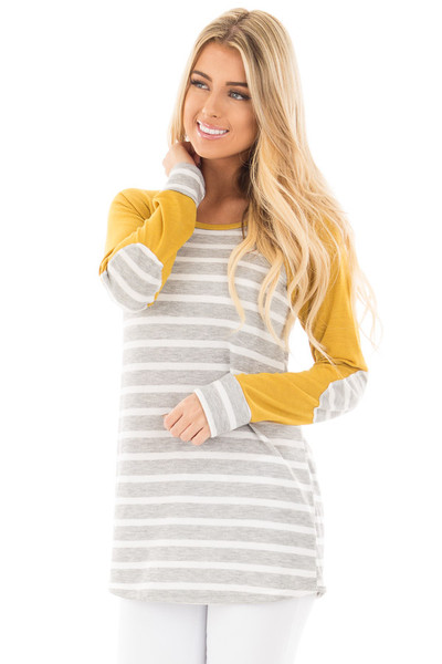 Heather Grey and Ivory Stripe Top with Marigold Sleeves front close up