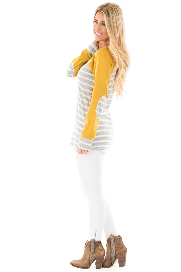 Heather Grey and Ivory Stripe Top with Marigold Sleeves side full body