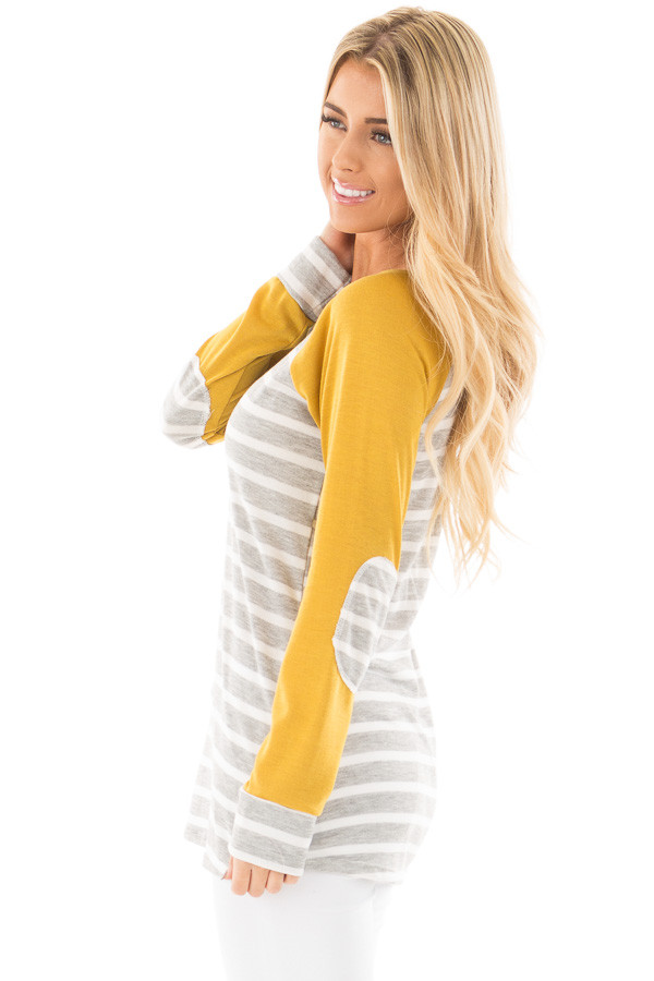 Heather Grey and Ivory Stripe Top with Marigold Sleeves side close up