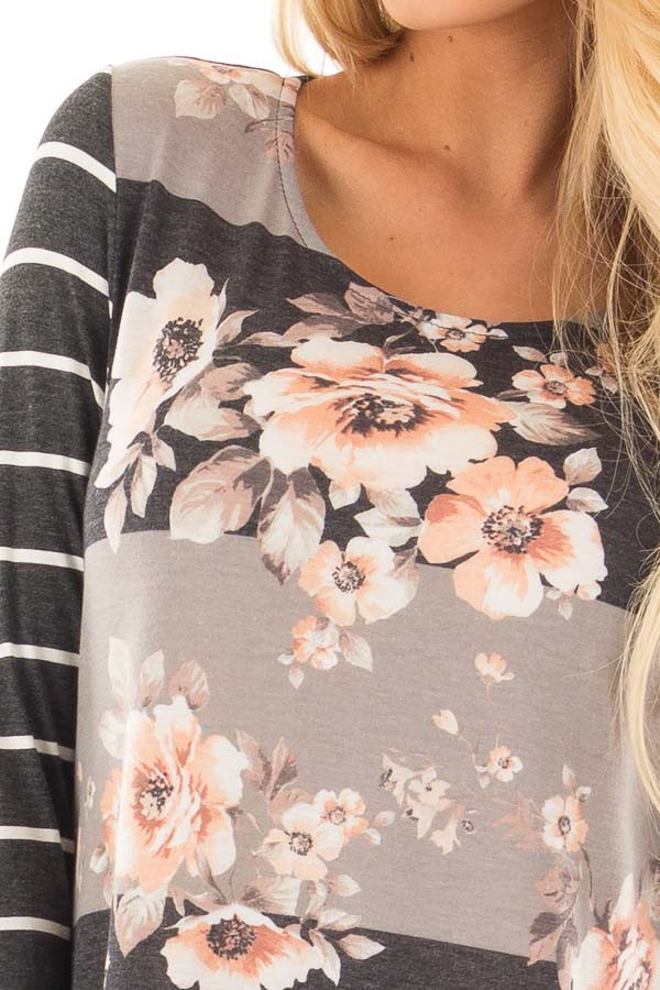 Charcoal and Grey Striped Floral Print Tunic detail