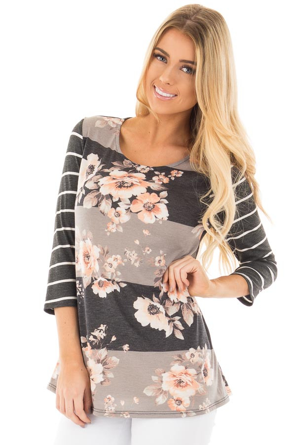 Charcoal and Grey Striped Floral Print Tunic front close up
