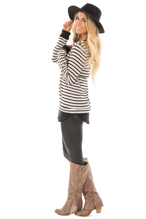 Black and Ivory Long Sleeve Striped Tunic side full body