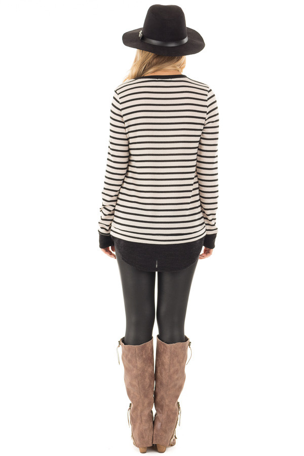 Black and Ivory Long Sleeve Striped Tunic back full body