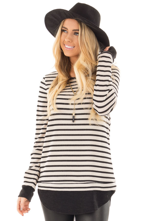 Black and Ivory Long Sleeve Striped Tunic front close up