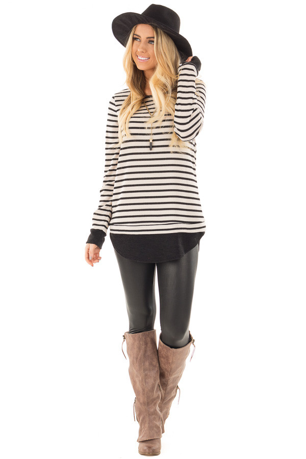 Black and Ivory Long Sleeve Striped Tunic front full body
