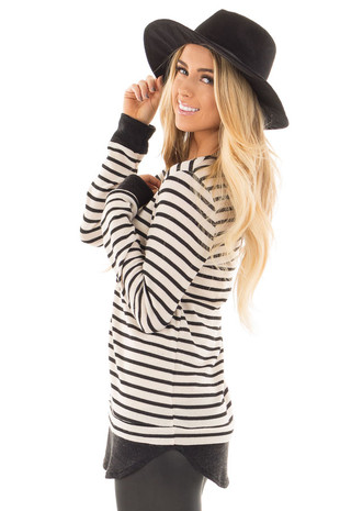 Black and Ivory Long Sleeve Striped Tunic side close up