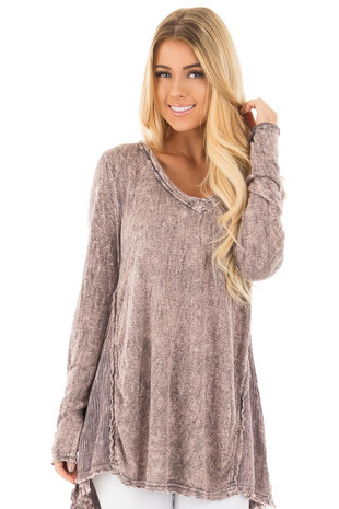 Stormy Pink Mineral Wash V Neck Top with Layered Back front close up
