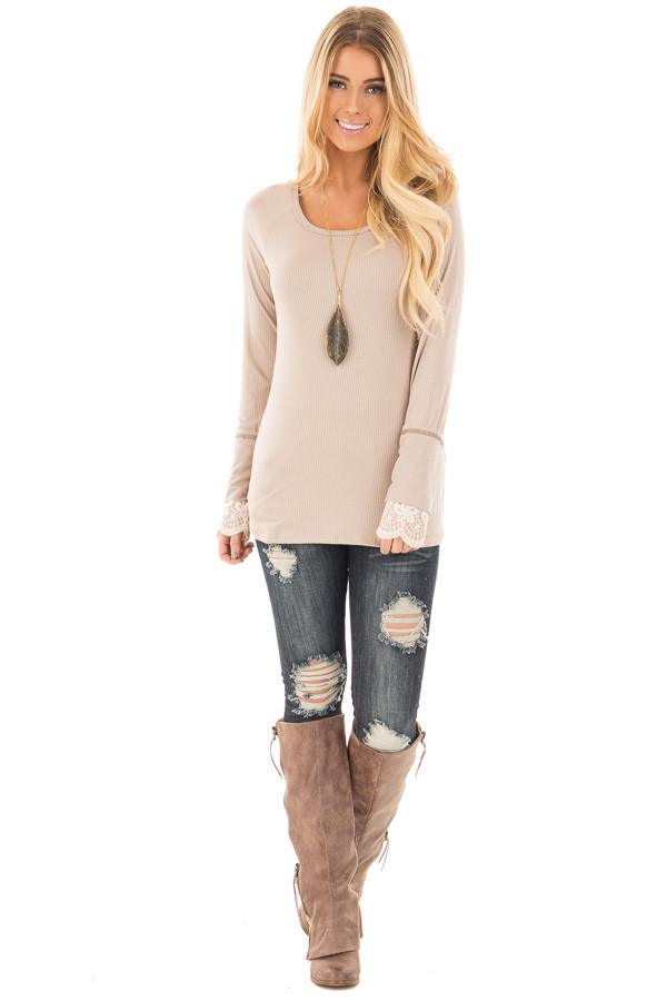 Light Latte Ribbed Long Sleeve Tee with Ivory Lace Cuffs front full body