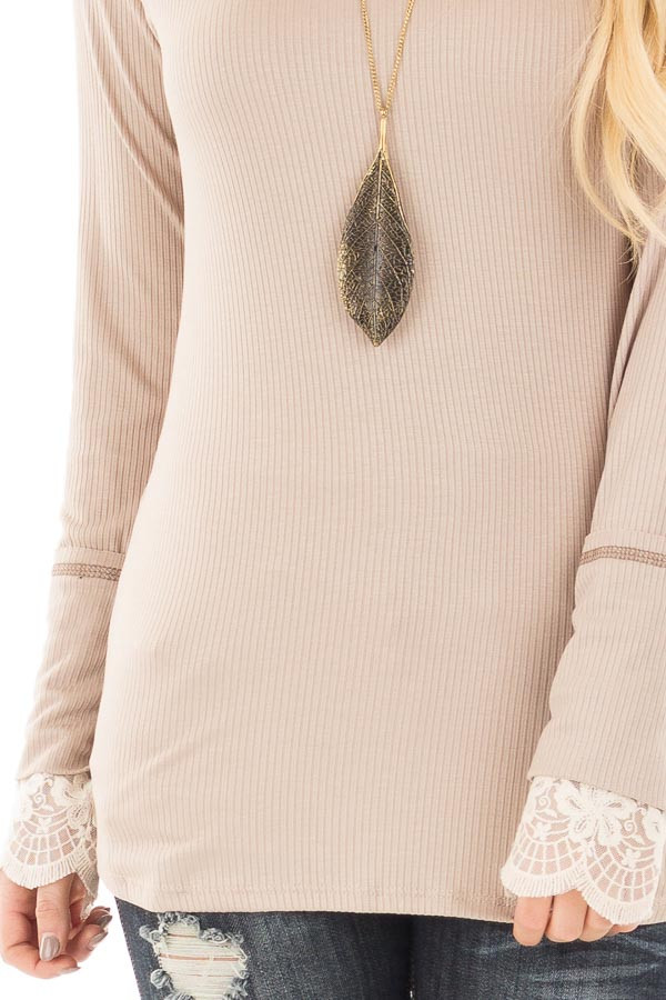 Light Latte Ribbed Long Sleeve Tee with Ivory Lace Cuffs detail