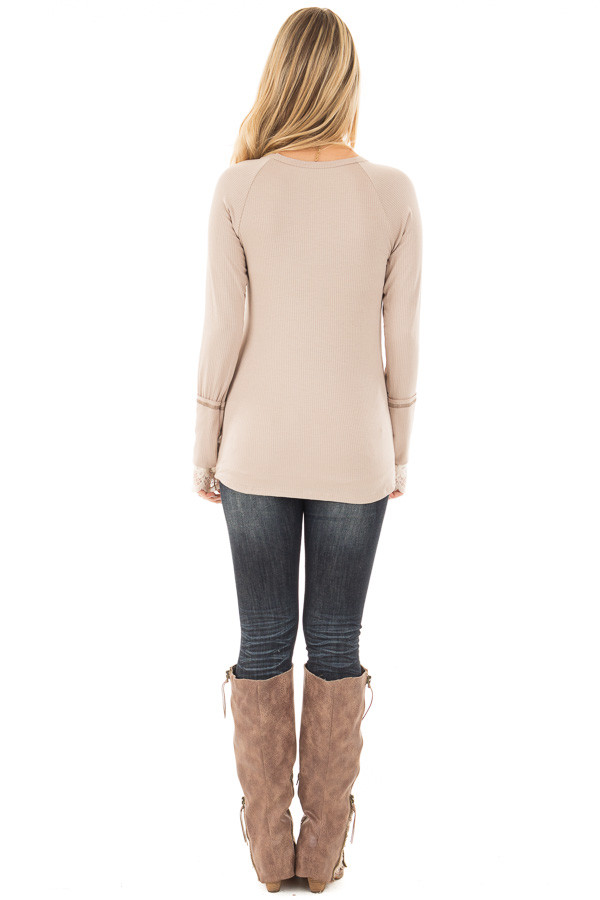 Light Latte Ribbed Long Sleeve Tee with Ivory Lace Cuffs back full body