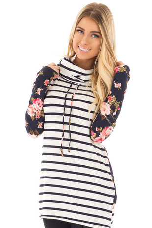 Ivory Striped Cowl Neck Top with Navy Floral Contrast front close up