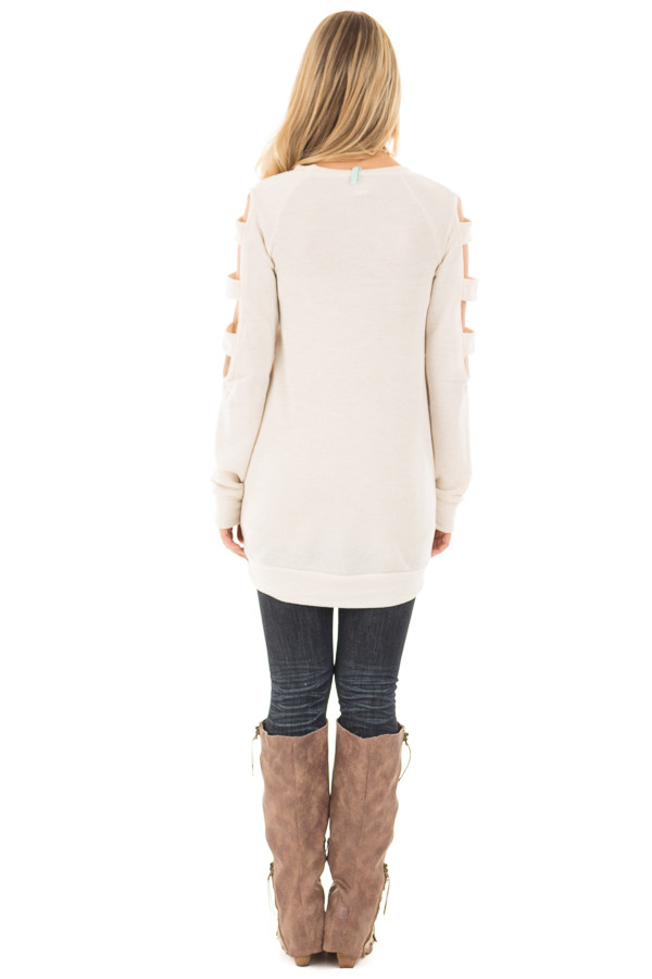 Light Oatmeal French Terry Top with Cut Out Sleeves back full body