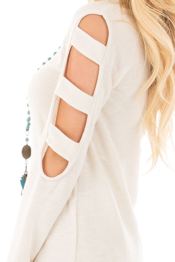 Light Oatmeal French Terry Top with Cut Out Sleeves detail