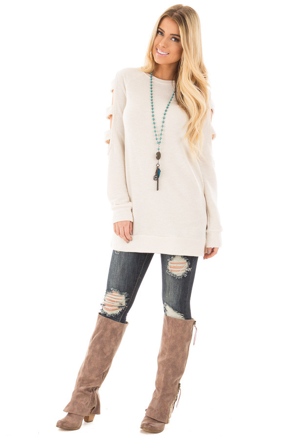 Light Oatmeal French Terry Top with Cut Out Sleeves front full body