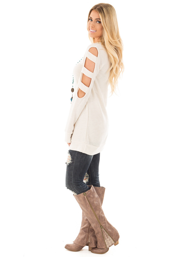 Light Oatmeal French Terry Top with Cut Out Sleeves side full body