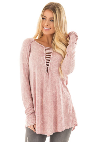 Dusty Blush Mineral Wash Top with Deep Strappy V Neck front close up