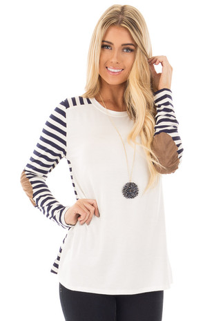 Ivory Top with Navy Stripe Contrast and Elbow Patch front close up