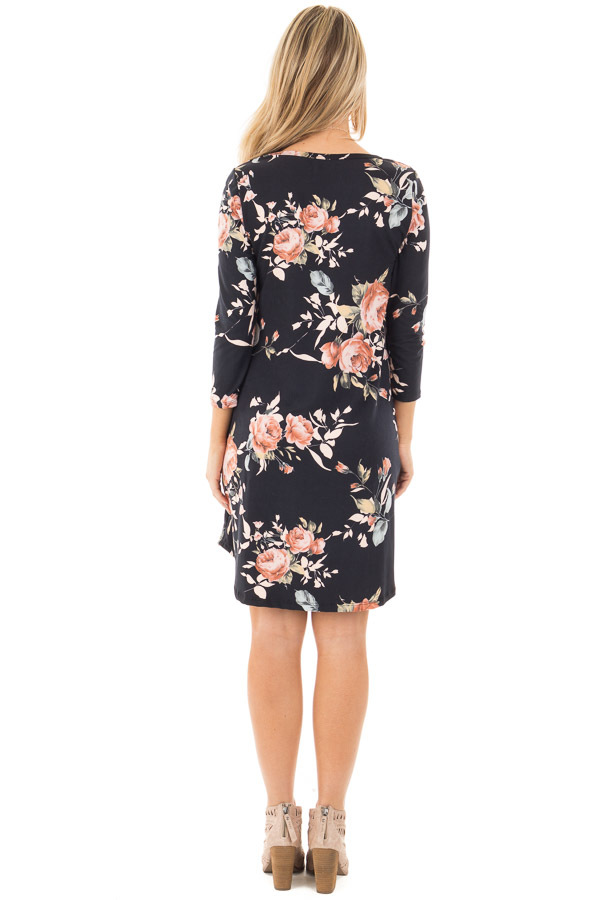 Black 3/4 Sleeve Dress with Blush Floral Print and Pockets back full body