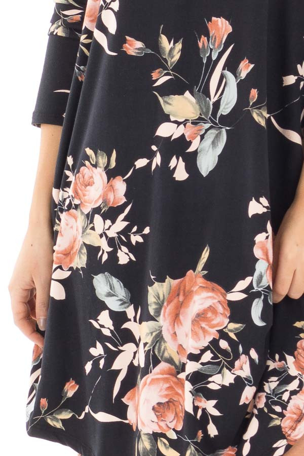 Black 3/4 Sleeve Dress with Blush Floral Print and Pockets detail