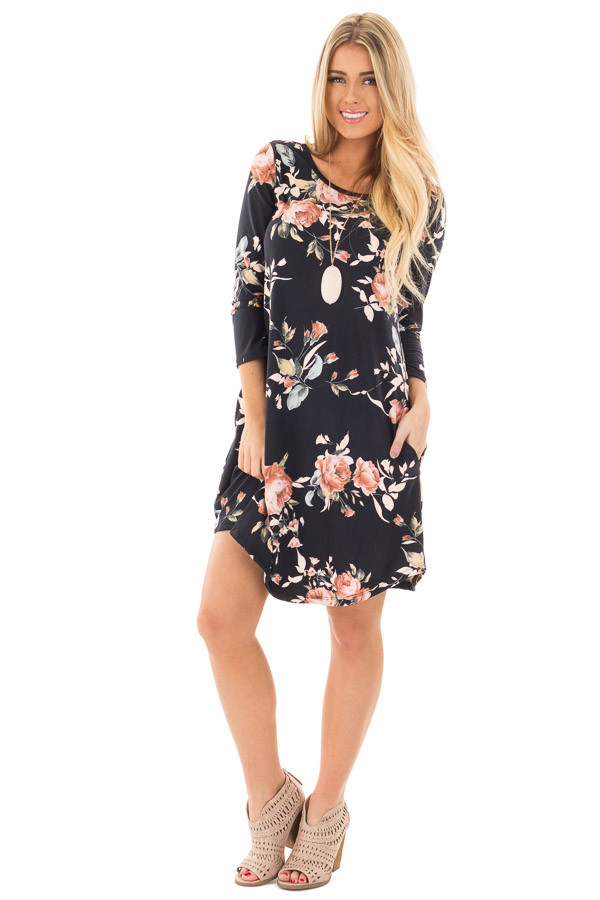 Black 3/4 Sleeve Dress with Blush Floral Print and Pockets front full body
