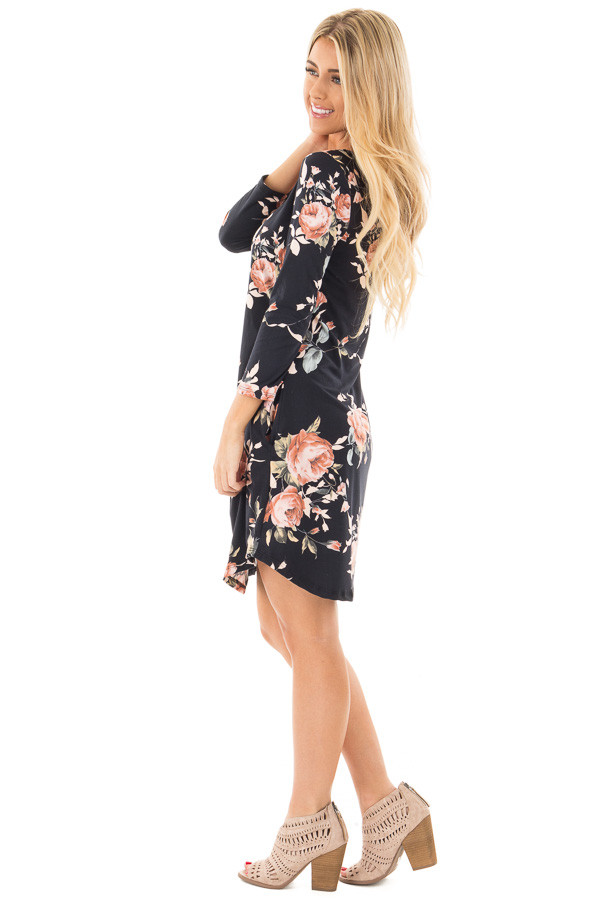 Black 3/4 Sleeve Dress with Blush Floral Print and Pockets side full body