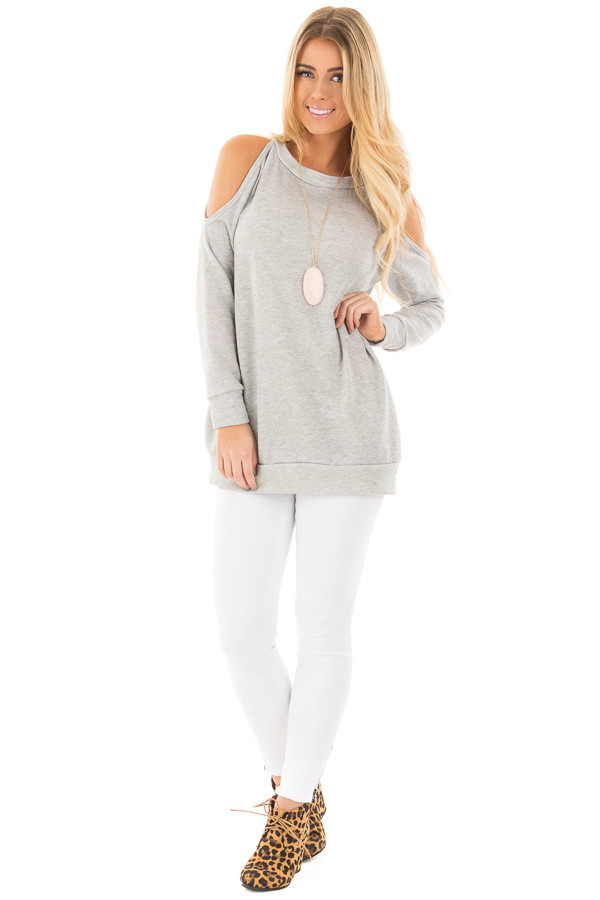 Grey French Terry Top with Cut Out Sleeves and Hidden Pocket front full body