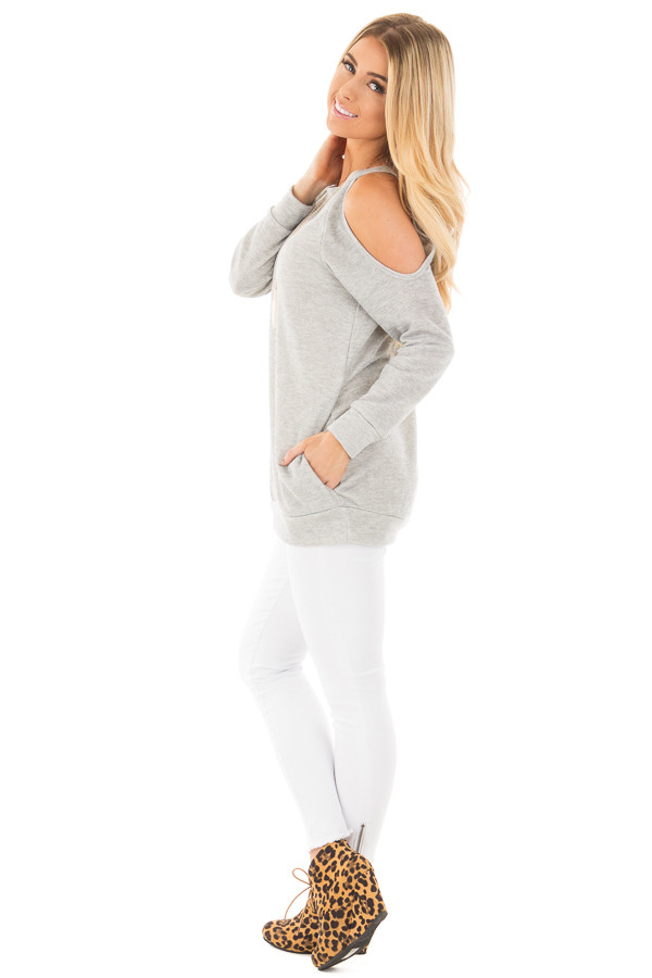Grey French Terry Top with Cut Out Sleeves and Hidden Pocket side full body