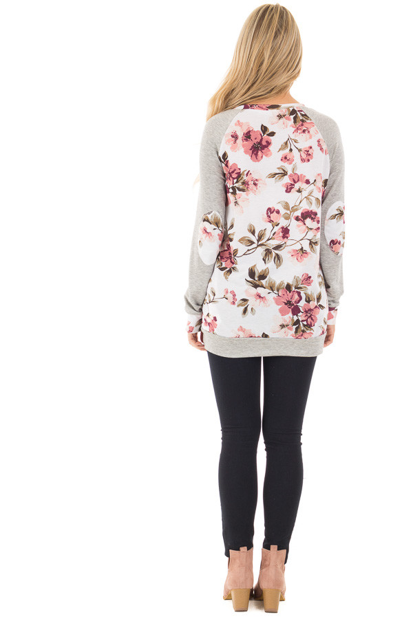 Ivory and Blush Floral Print Top with Heather Grey Contrast back full body