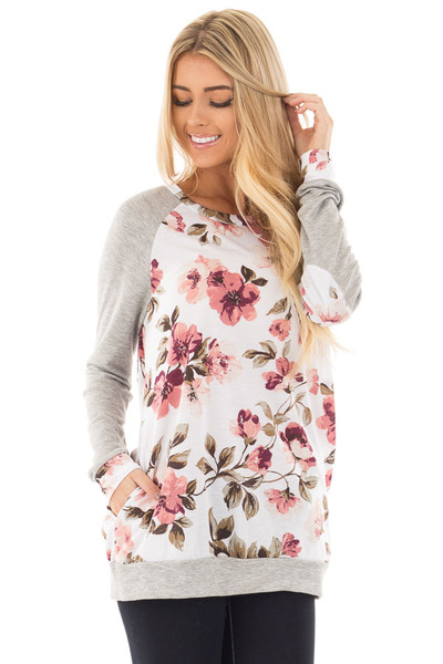Ivory and Blush Floral Print Top with Heather Grey Contrast front close up
