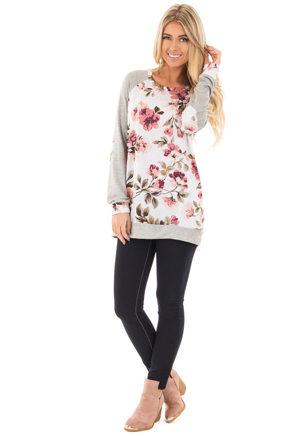 Ivory and Blush Floral Print Top with Heather Grey Contrast front full body