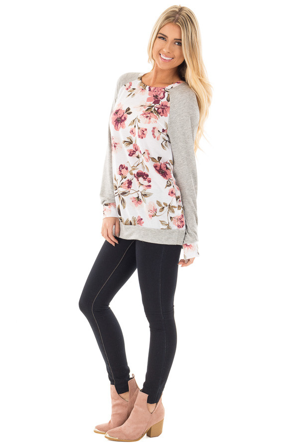 Ivory and Blush Floral Print Top with Heather Grey Contrast front side full body