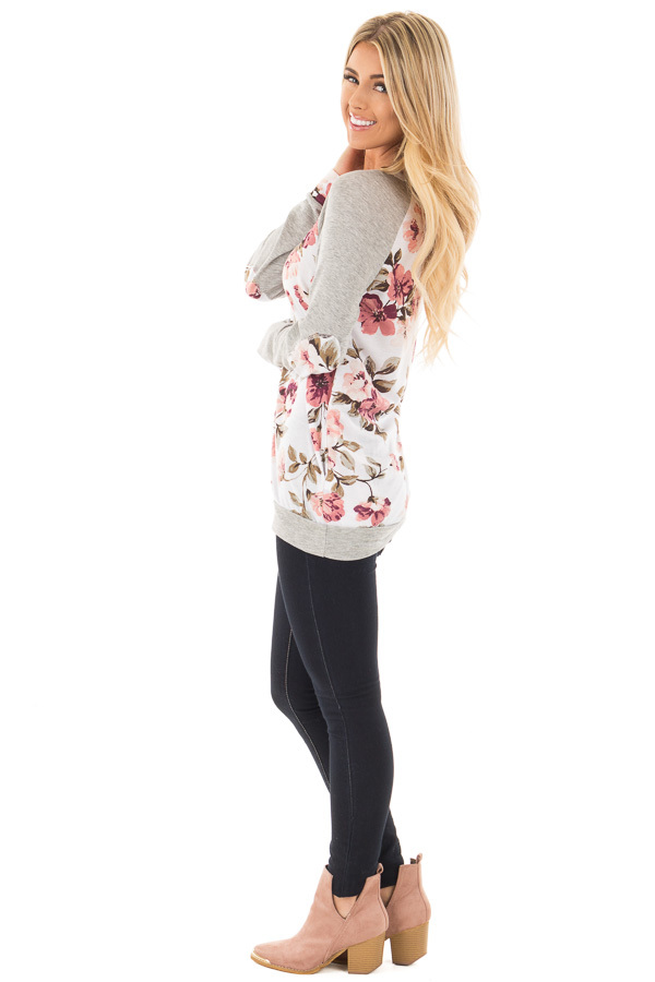 Ivory and Blush Floral Print Top with Heather Grey Contrast side full body