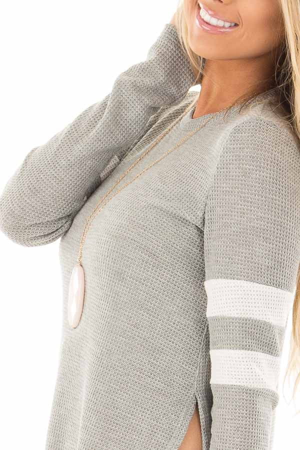 Heather Grey Waffle Long Sleeve Top with White Stripes on Sleeves detail